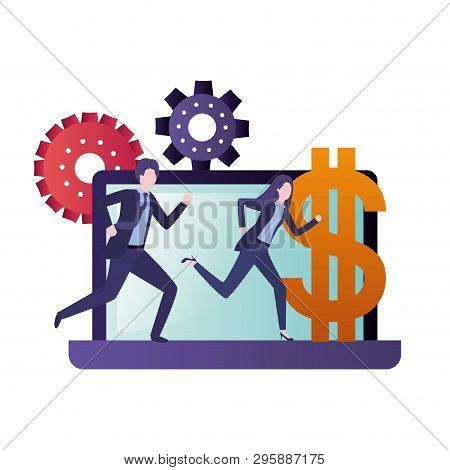 Computer Screen With Business Couple Avatar Character Vector Illustration Design