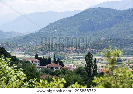 View Of The Mountain Region Of Greece, Thessaly, Mountain Landscape, Village In A Mountain Valley, M