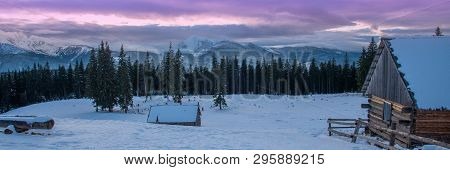 Beautiful Winter Panoramic View Snow Capped Mountains
