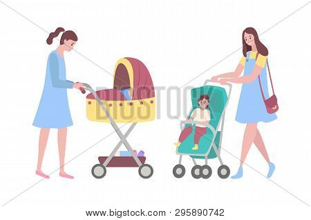 Happy Mothers Vector, Woman With Perambulators, Kids Sitting In Pram Flat Style. Parent Of Boy Sitti