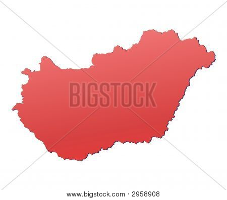 Hungary map filled with red gradient. Mercator projection. poster