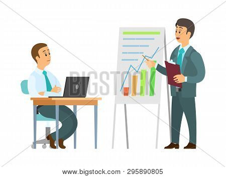 Business Seminar Vector, Explanation Of Plan On Whiteboard. Boss With Infographics, Worker With Lapt