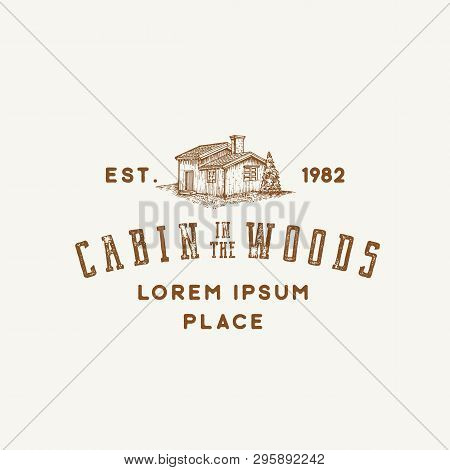 Cabin In The Woods Abstract Vector Sign, Symbol Or Logo Template. Hand Drawn Wooden Cabin Sketch Wit