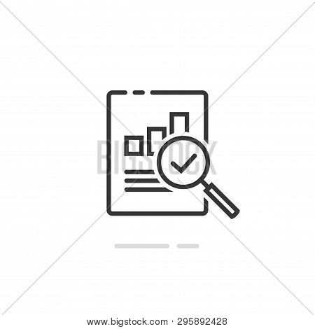 Audit Research Report Icon Vector Symbol, Line Outline Art Design Quality Control Evaluation Pictogr