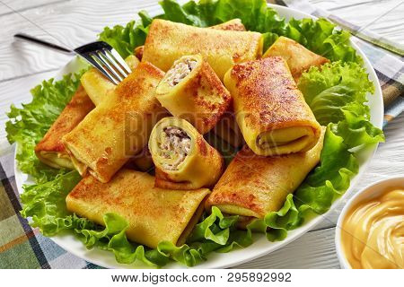 Close-up Of Savory Crepe Rolls With Ground Chicken Meat And Champignon Filling Served On A Bad Of Fr