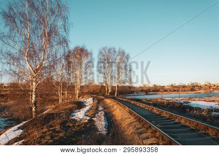 Beautiful March Landscape With Birches And A Railway Leaving Into The Distance.