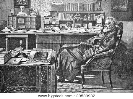 Russian writer Dmitry Grigorovich. Engraving by Schyubler from picture by painter Medvedev. Published in magazine