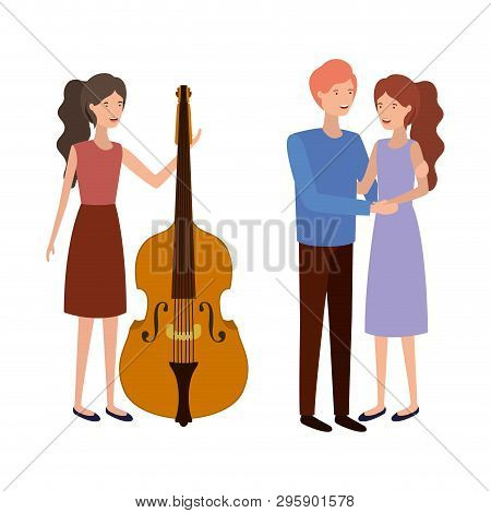 Group Of People With Musical Instrument Vector Illustration Design