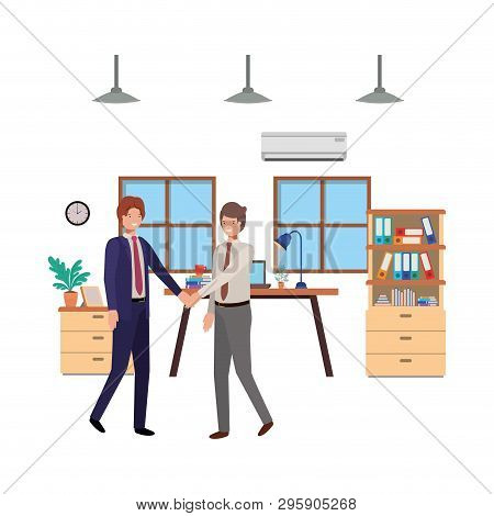 Businessmen In The Work Office Avatar Character Vector Illustration Desing
