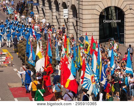 Zurich, Switzerland - August 1, 2018: Participants Of The Parade Devoted To The Swiss National Day P