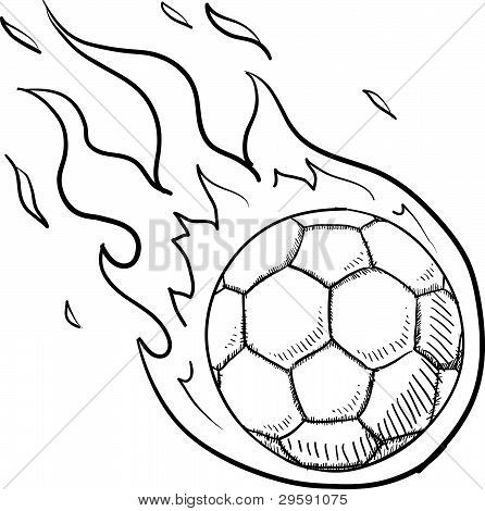 Flaming soccer sketch