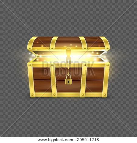 Vector 3d Realistic Opened Empty Retro Vintage Antique Old Treasure Wooden Brown Pirate Dower Chest