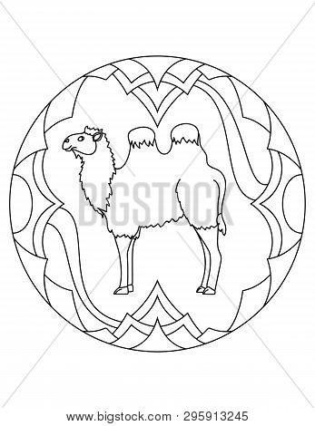 Pattern With A Camell. Illustration With A Camell. Mandala With An Animal.  Bactrian Camell In A Cir