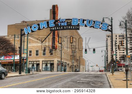 Memphis, Tennessee/united States - January 15, 2019: Home Of The Blues Sign On Beale St. In Memphis,