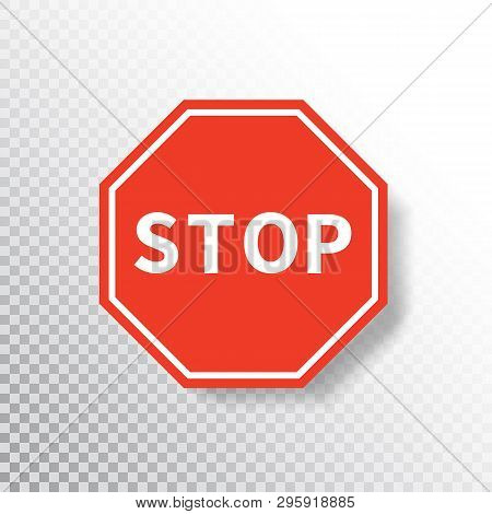Stop Sign Isolated On Transparent Background. Red Road Sign. Traffic Regulatory Warning Stop Symbol.