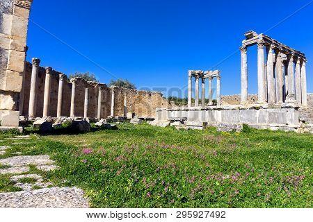 Panorama Of Ruins Of The Temple Of Juno In Dougga, Tunisia