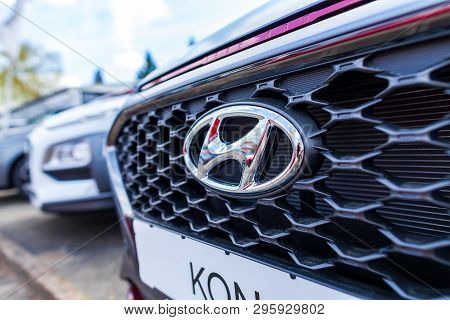 Nuremberg / Germany - April 7, 2019: Hyundai Logo On A Hyundai Car At A Car Dealer. The Hyundai Moto