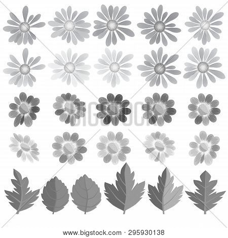 Flowers, Leaves And Butterflies In Gray Tone. A Set For Compiling Kospozitsy On The Theme Of Nature