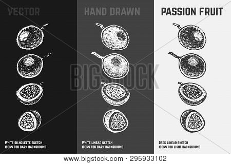 Hand Drawn Passion Fruit Or Maracuya Icons Set Isolated On White, Gray And Black Chalk Background. S
