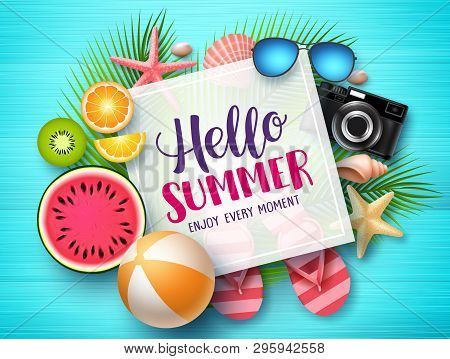 Hello Summer Vector Banner Template. Hello Summer Text In White Space Boarder With Colorful Beach El