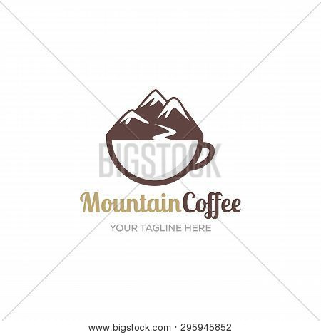 Mountain Coffee Logo Designs Inspiration, With Glass Cup And Creeks