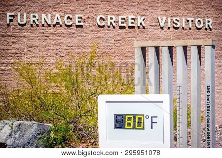 A Thermometer Gauge In Death Valley National Park, California