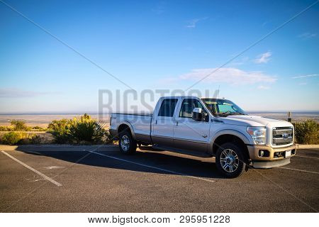 Carlsbad Cavern National Park, Nm, Usa - April 22, 2018: The F350 Parked Along The Preserve Park