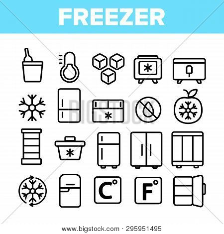 Freezer, Cooling Appliance Linear Vector Icons Set. Frosting And Icing Thin Line Contour Symbols. Co
