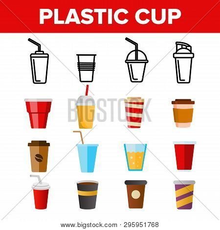 Disposable Plastic Cup Linear Vector Icons Set. Coffee To Go Cup Thin Line Contour Symbols Pack. Tak