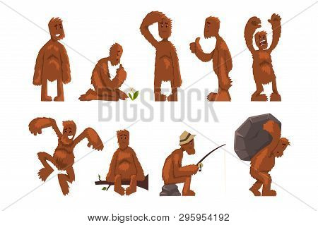 Funny Bigfoot Cartoon Character Set, Mythical Creature In Different Situations Vector Illustrations