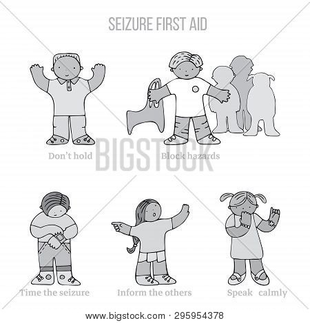 Set Of Kids In Seizure First Aid Situation, With Text. Fine For Medical Infobrochures For Kids And T