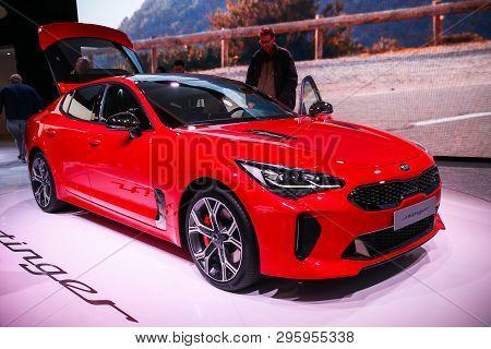 Geneva, Switzerland - March 11, 2019: Red Motor Car Kia Stinger Presented At The Annual Geneva Inter