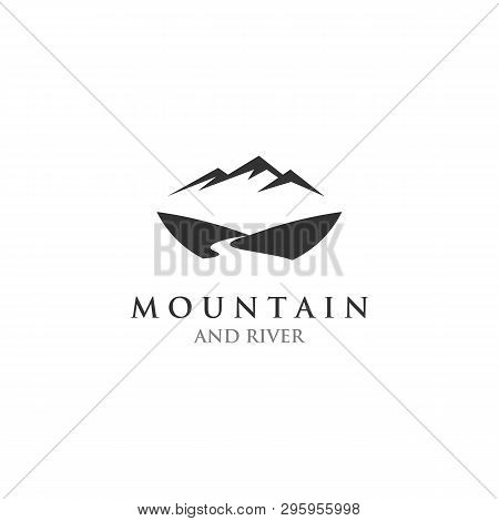 Mountain River Logo Design Template, Creeks And Hill On The Logo