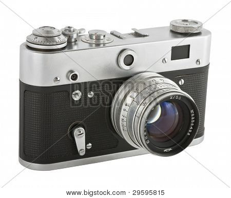 A classic manual film camera, on white.