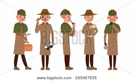 Detective . Professional Vintage Tec, Snoop, Shamus, Spotter Man. Isolated Flat Cartoon Character Il