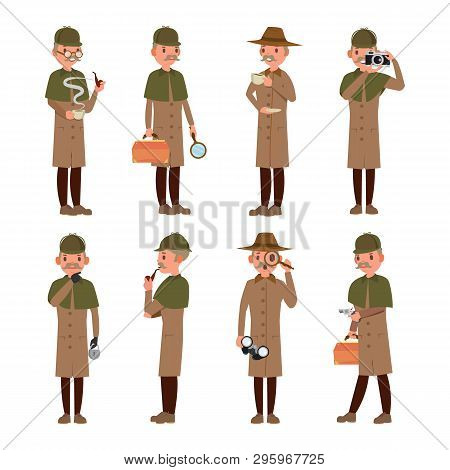 Detective Character . Shamus, Spotter Man. Classic Detective Equipment. Isolated On White Cartoon Il