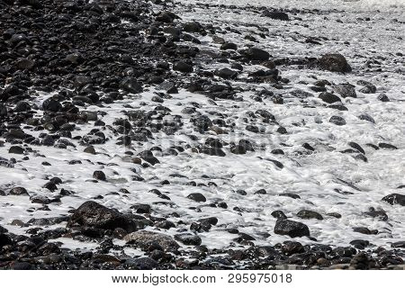 A Rocky Beach On The North Coast Of Madeira. Portugal