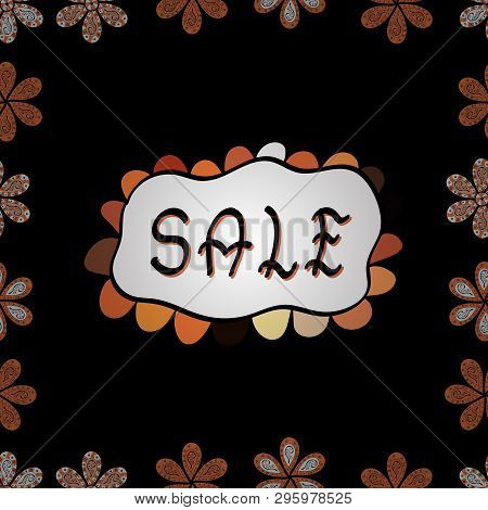 Picture In Black, White And Orange Colors. Lettering. Sale Banner Template Design. Seamless.