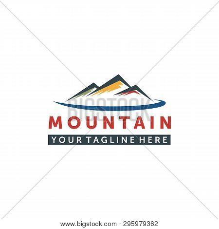 Mountain Logo, Elegant Mountain Vector Logo Design And The Creeks