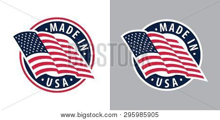 Made In Usa (united States Of America). Composition With American Flag For Badge, Label, Pin, Etc. V