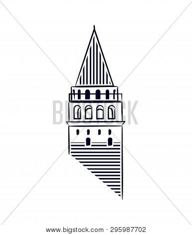 Galata Tower Istanbul Isolated Icon Illustration Made Line Art Style. Galata Tower As A Symbol Of Ka