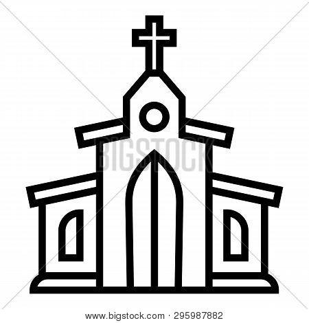 Catholic Church Icon. Outline Catholic Church Vector Icon For Web Design Isolated On White Backgroun