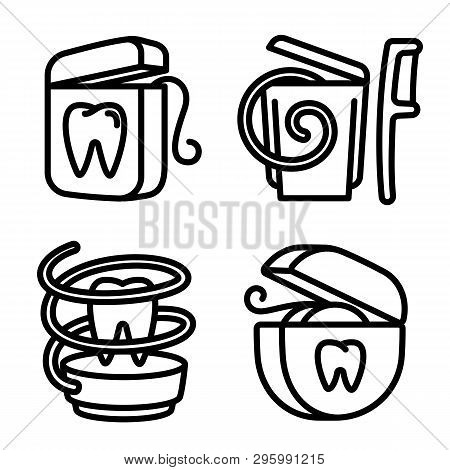 Floss Icons Set. Outline Set Of Floss Vector Icons For Web Design Isolated On White Background