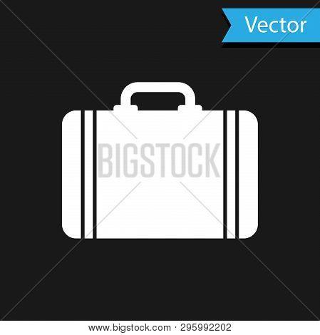 White Suitcase For Travel Icon Isolated On Black Background. Traveling Baggage Sign. Travel Luggage