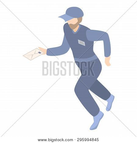 Running Mailman Icon. Isometric Of Running Mailman Vector Icon For Web Design Isolated On White Back