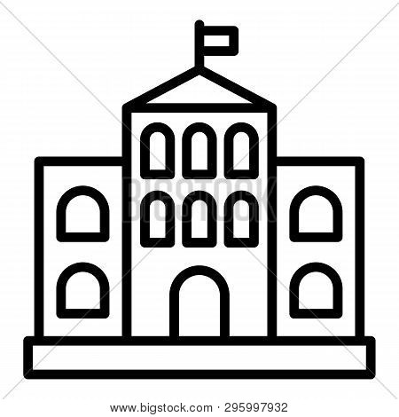 Architectural Courthouse Icon. Outline Architectural Courthouse Vector Icon For Web Design Isolated