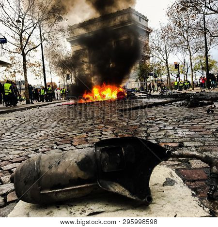 Paris, France - 12 January 2019. Demonstrators During A Protest In Yellow Vests. Yellow Vest Is A Sy
