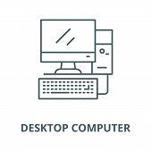 Desktop computer, workstation line icon, vector. Desktop computer, workstation outline sign, concept symbol, flat illustration poster