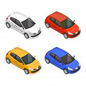 Set of passenger multi-colored cars on the isolated white background.3D. Isometry.Elements for design. Vector illustration. poster