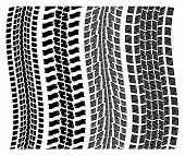 vector set of detailed tire prints on white background poster